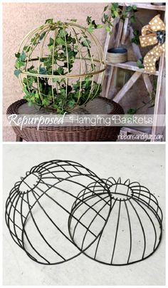 Repurposed Hanging Garden Baskets For Porch - 34 Brilliant DIY Country/Rustic Home Decor Ideas for Porch - I Heart Crafty Diy Rustic Decor, Diy Garden Decor, Country Decor, Garden Art, Farmhouse Decor, Warm Home Decor, Cheap Home Decor, Rustic Gardens, Outdoor Gardens