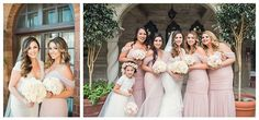 Bridesmaids wear soft blush gowns coordinating with the neutral color scheme. Wedding Floral and Event Design: Posh Peony Floral and Event Design.