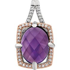 Sterling Silver and Rose Gold Plated Genuine Amethyst & 1/6 CTW Diamond Pendant #amethyst #amethystpendant #amethystdiamondpendant #mystullerstyle page 129 st651796