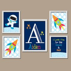 Space Wall Art CANVAS or Prints Boy Nursery Outer Space Boy Bedroom Astronaut I Love You to the Moon & Back Rocket Set of 5 Boy Room Decor