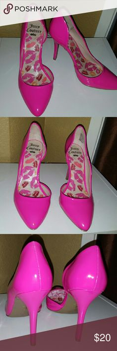 Juicy Couture pumps SZ 8 Cute hot pink Juicy Couture pumps SZ 8 in good condition. Heels have a few light scratches on the heels hard to notice them. Heel is  approximately  4 1/4 inches tall. Juicy Couture Shoes Heels