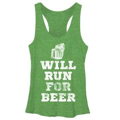CHIN UP Women's - Running For Beer Racerback Tank. Cute Saint Patrick's Day shirt! www.chinupapparel.com
