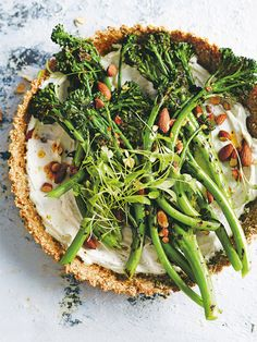grilled broccolini and labne almond tart rom donna hay fresh + Light issue Quiches, Donna Hay Recipes, Vegetarian Recipes, Healthy Recipes, Weeknight Recipes, Savory Tart, Savoury Pies, Tart Recipes, Food Cakes