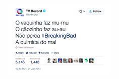 Já viu como a TV Record anuncia o seriado Breaking Bad no Twitter? http://www.bluebus.com.br/ja-viu-como-tv-record-anuncia-o-seriado-breaking-bad-twitter/