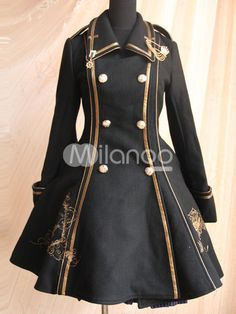 Being the most beautiful Lolita princess, Milanoo Lolitashow Black Copper Color Turndown Collar Long Sleeves Wool Flannel Lolita Coat couples with sweet styles and comfortable materials at affordable prices. Mode Steampunk, Steampunk Clothing, Steampunk Fashion, Steampunk Jacket, Gothic Steampunk, Victorian Gothic, Cosplay Outfits, Dress Outfits, Fashion Dresses