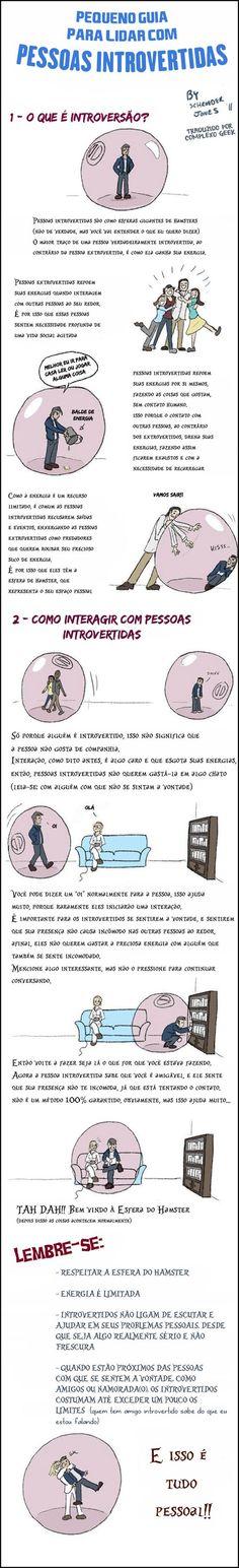 """""""Em um mundo que celebra comportamentos extrovertidos incessantemente, os introvertidos têm grande chance de ficar com uma má reputação. Há coisas que os introvertidos gostariam que você soubesse sobre eles e que ajudariam na convivência e nas relações. Por exemplo, introvertidos não são anti-sociais ou deprimidos. Na verdade, muitos os admiram pelo seu jeito independente …"""