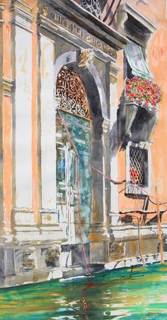 """palazzo grand canale venice 40"""" x 20"""" micheal zarowsky / watercolour on arches paper / available $2500.00"""