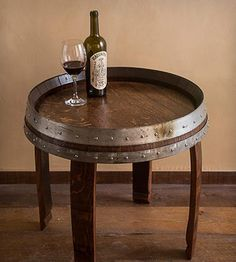 Wine Barrel End Table 17""