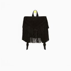 LEATHER BACKPACK WITH FRINGING from Zara
