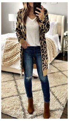 Cardigan Outfits, Komplette Outfits, Polyvore Outfits, Fashion Outfits, Womens Fashion, Winter Cardigan Outfit, Cheetah Cardigan, Oversized Cardigan, Fashion Heels