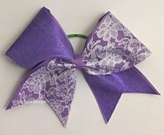 Purple and white lace cheer bow by MyBowPeeps on Etsy