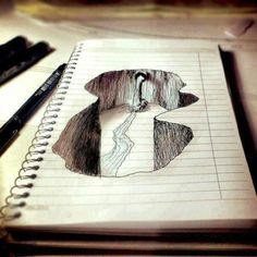 Cool drawing idea I want to try this it reminds me of that sidewalk art ... perfect it in miniature on paper first.