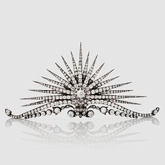 An old- and rose-cut diamond sun ray tiara, probably by Fabergé. With fitted case signed Fabergé. Provenance: Purchased in St. Petersburg by General Brändström, the Swedish ambassador in St Petersburg, around Royal Tiaras, Tiaras And Crowns, Diamond Tiara, Rose Cut Diamond, Royal Jewelry, Fine Jewelry, Jewellery, Antique Jewelry, Vintage Jewelry