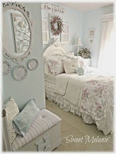 Shabby Chic Blue and Creamy White Bedroom.