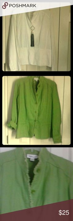 COLDWATER CREEK LINEN JACKET Soft lightweight linen jacket with frayed edges. Mandarin collar, square buttons, & slight flair at waist. Great for Spring/Summer/Fall...office or casual!! Both were ONLY worn once, if that!!! Coldwater Creek Jackets & Coats
