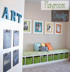 Great playroom Ideas, I love anything that   can help keep this room somewhat organized!