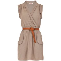 JOY - Louche Zaza Wrap Belted Dress ($69) ❤ liked on Polyvore featuring dresses, vestidos, vestiti, wrap style dress, louche dress, wrap dress, dresses with belts and brown dress