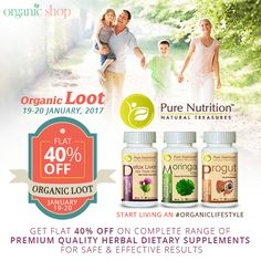 Get FLAT 40% OFF on complete range of Pure Nutrition premium quality herbal dietary supplements for safe and effective results. Pure Nutrition brings to you a variety of natural foods, supplements and herbal infusions, rich in natural nutrients. The Offer is valid only for Organic Loot on 19-20 January. India: http://organicshop.in/organic-loot Global: http://global.organicshop.in/organic-loot