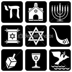 - their religious symbol is the star of david  - they can't eat pork, and their food must be 'Kosher'  - boys are circumcised at a very young age  - they attend synagogues   - their holy text is the Torah  - their religious leaders are called Rabbis  - Jewish men are meant to wear a Kippah while praying, reciting blessings or studying Jewish texts, although some wear them all the time.