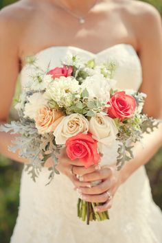 Rose-and-Dusty-Miller-Bouquet FAVORITE ONE! (but add blue? Like the coral, cream, and grey together)