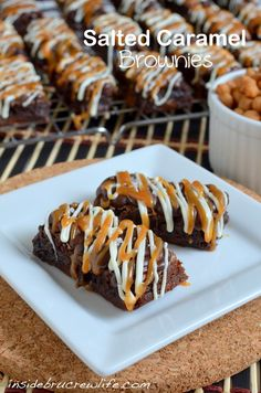 Salted Caramel Brownies - easy mocha brownies drizzled with chocolate and white chocolate and salted caramel   #saltedcaramel #brownies  http://www.insidebrucrewlife.com