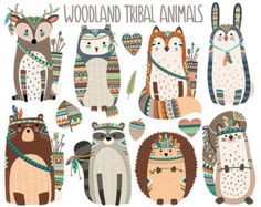 Tribal Animal Faces Clipart Cute Clip Art by KennaSatoDesigns Woodland Critters, Woodland Creatures, Woodland Animals, Nursery Prints, Nursery Wall Art, Tribal Animals, Baby Drawing, Animal Nursery, Woodland Nursery