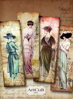 DOLLED UP - Bookmarks Digital Collage Sheet Printable Vintage Paper Craft Fashion Tags Jewelry Holders
