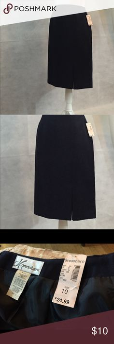 Black skirt with side kick pleat. New with tags black skirt with front left kick pleat. Smoke free home. Dress Barn Skirts Midi