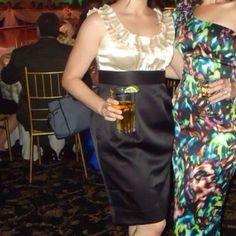 Black & Cream Satin Dress W/ Ribbon Neckline