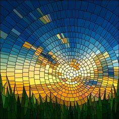 Vector illustration du coucher du soleil dans le ciel bleu dans la fen tre en verre teint herbe Banque d'images