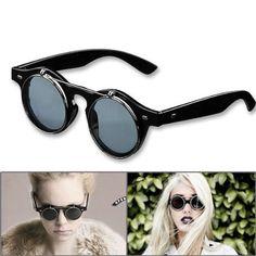 ccdd41d1f5 1 Pair Retro Steampunk Style Smart Vogue Dress Round Glass Flip Up Clear  Lens Gunmetal Frame Smoke Sunglasses Glasses Eyewear Lens with Microfiber  Storage ...
