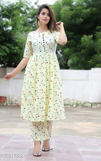 fashion women plus size Printed Kurti Designs, Simple Kurti Designs, Kurta Designs Women, Kurti Neck Designs, Dress Neck Designs, Stylish Kurtis Design, Stylish Dress Designs, Designs For Dresses, Stylish Dresses