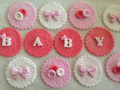New Delicate Set for Baby BUTTONS AND BOWS Featured set is in coral, pink and white. This beautiful set of 12 handmade toppers features