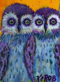 KeROBinson ART aceo #296a Baby Owls Bird Collectible folk trade card purple blue