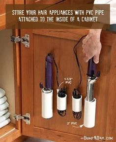 a smart way to keep your hair appliances from ending up tangled to each other in a drawer somewhere.