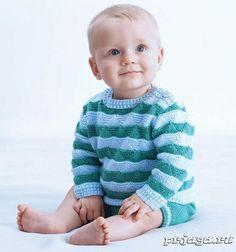 Двухцветный детский свитер спицами