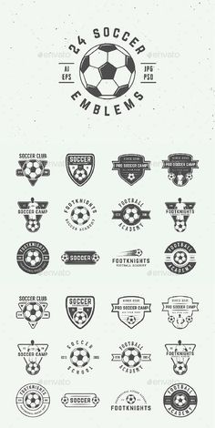 24 Vintage Soccer Emblems Set of vintage soccer and football logos, badges, emblems and design elements Can be used for logo design, badge design, emblems, sport, shop sign and much more.  You get 24 emblems.  Easy to modify, edit, re-size, vectors available in AI and EPS formats, all 100% editable. Text 100% editable and can be easely removed. All files are in AI, EPS, PSD and JPG formats.  Fonts and mock-ups are not included.  List of used fonts:  Headliner No. 45 OctinVintageBRg-Regular…