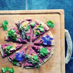 Gluten Free Buckwheat Pizza With Beetroot Hummus And Cashew Cheese