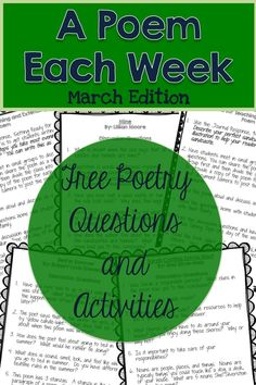 March A Poem Each Week. Love these Free questions and activities for 4 march themed poems.