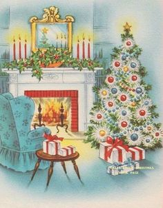 Vintage red & aqua blue Christmas greeting card with cozy chair by the fireplace, candles, & tree Christmas Card Images, Holiday Images, Vintage Christmas Images, Retro Christmas, Vintage Holiday, Christmas Greeting Cards, Christmas Pictures, Christmas Art, Christmas Greetings