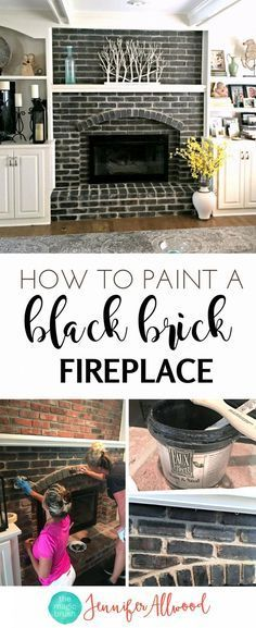 How to make a Painted Black Brick Fireplace Jennifer Allwood | Fireplace Makeover | DIY Fireplace Ideas