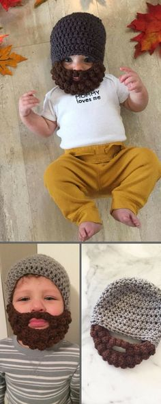 Crochet beanie w/ a beard! How cute for baby or child. Custom made by etsy. #crochet#etsy#baby#kids#ad