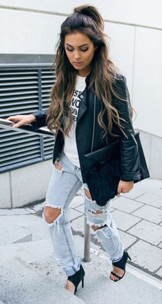 #fall #fashion / ripped denim + leather