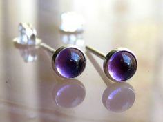 Natural Stud Earrings / Purple Gemstone Studs by LarryJewelryShop