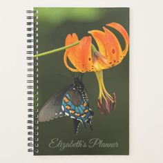 #Personalized Butterfly And Turks Cap Lilly Flower Planner - customized designs custom gift ideas