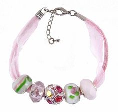 Organza and Cotton Cord Bracelet with Bead Charms - Pink and Lime Green (B383)