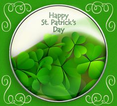 Big button with flowing shamrocks for St. Patrick's Day. Patrick's Day Button ecards on St.