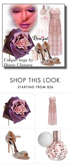 """Rosette"" by nelly-melachrinos ❤ liked on Polyvore featuring Badgley Mischka, flower, LeatherBag and uniquebag"