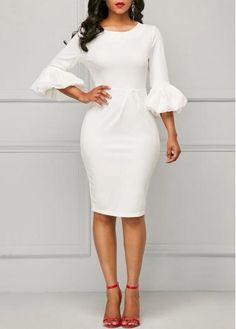 Back Slit Puff Sleeve White Sheath Dress White Dress With Sleeves, White Sheath Dress, Dresses With Sleeves, Sheath Dresses, Sleeve Dresses, Elegant Dresses, Sexy Dresses, Casual Dresses, Fitted Dresses