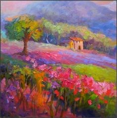 Spring Meadows , 24x24, oil on board, framed-$799, Tuscan art, paintings of Italy, Tuscany, Umbria, palette knife paintings, magenta, rose, purple, painting by artist Maryanne Jacobsen